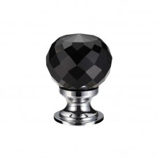 Fulton & Bray - Glass Ball Cabinet Door Knob Facetted 25mm CP Black - FCH03ACPBL