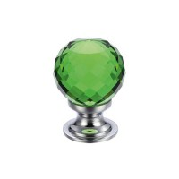 Glass Ball Cabinet Door Knob Facetted 25mm CP Green