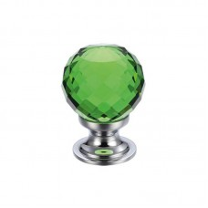 Fulton & Bray - Glass Ball Cabinet Door Knob Facetted 25mm CP Green - FCH03ACPG