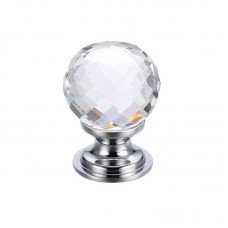 Glass Ball Cabinet Door Knob Facetted 30mm CP