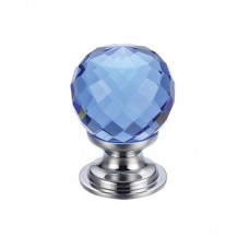 Glass Ball Cabinet Door Knob Facetted 30mm CP Blue
