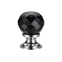 Glass Ball Cabinet Door Knob Facetted 30mm CP Black
