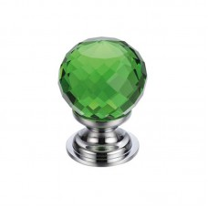Glass Ball Cabinet Door Knob Facetted 30mm CP Green