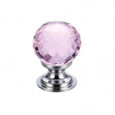 Glass Ball Cabinet Door Knob Facetted 30mm CP Pink