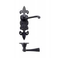 Fleur De Lys Door Handle Latch 50 x 200mm BK
