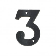 Foxcote Foundries - Door Numeral -  3  102mm Black - FFN03