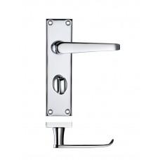 Zoo Hardware - Victorian Flat Lever Bathroom Lock Door Handle 40 x 150mm CP - PR043CP