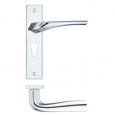 Rosso Maniglie - Aries  Euro Lock Door Handle on Backplate CP - RM061EPCP