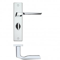 Lyra Bathroom Door Handle on Backplate CP