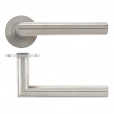 Mitred Door Handle Push on Rose 19mm Dia. 304 SS