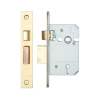 British Standard 5L Sash Door Lock 64mm 44.5mm Bkst KA PVD