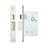 British Standard 5L Sash Door Lock 64mm 44.5mm Bkst KA SS