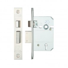 British Standard 5L Sash Door Lock 64mm 44.5mm Bkst KA SS