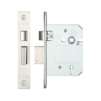 British Standard 5L Sash Door Lock 76mm 57mm Bkst KA SS