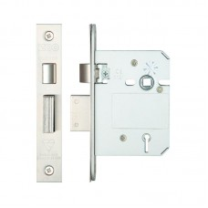 Zoo Hardware - British Standard 5L Sash Door Lock 76mm 57mm Bkst KA SS - ZBSS76SSKA
