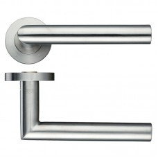 Mitred Lever Door Handle Push on Rose 19mm Dia. SS