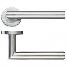 Mitred Lever Door Handle Push on Rose 19mm Dia. 201 SS