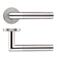 Mitered Dual Finish Door Handle 19mm Rose Dia. 201 SSPS