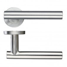 Straight T-Bar Door Handle Push on Rose 19mm Dia. 201 SS