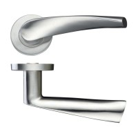 Curved Door Handle Push on Rose 19mm Dia. 201 SS