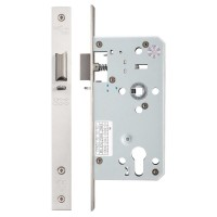 Din Night Door Latch 72mm c/c 55mm Bkst SS