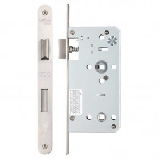 Zoo Hardware - Din Bathroom Door Lock 78mm c/c Radius 55mm Bkst SS - ZDL7855RSS