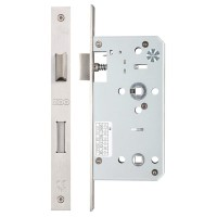 Din Bathroom Door Lock 78mm c/c 55mm Bkst SS