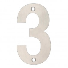 Zoo Hardware - House Door Numeral '3' 102mm Satin Stainless ZSN03BSS