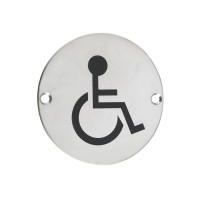 Disabled Facilities Door Sign 76mm Dia. PS