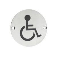 Disabled Facilities Door Sign 76mm Dia. SS