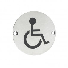 Zoo Hardware - Disabled Facilities Door Sign 76mm Dia. SS - ZSS07SS