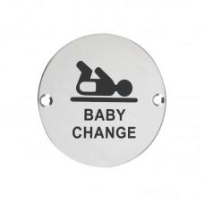 Zoo Hardware - Baby Change Door Sign 76mm Dia. PS - ZSS08PS
