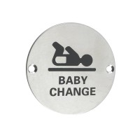 Baby Change Door Sign 76mm Dia. SS