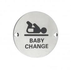 Zoo Hardware - Baby Change Door Sign 76mm Dia. SS - ZSS08SS