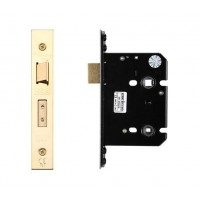 Bathroom Door Lock 79.5mm w/ Forend & Strike 57mm Bkst PVD
