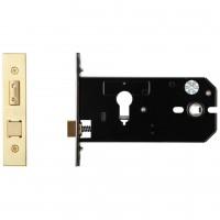 """Euro Door Lock 152mm 6"""" Forend & Strike 127mm Bkst PVD"""