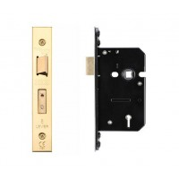 5L Door Sash Lock 64mm w/ Forend & Strike 44.5mm Bkst PVD