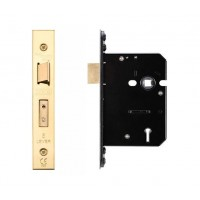 5L Door Sash Lock 79.5mm w/ Forend & Strike 57mm Bkst PVD