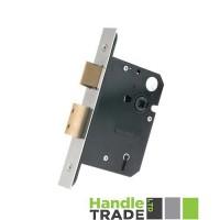5L Door Sash Lock 79.5mm w/ Forend & Strike 57mm Bkst KA SS