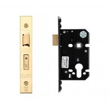 "Euro Sash Door Lock 67.5mm 2.5"" Forend & Strike 44.5mm Bkst PVD"