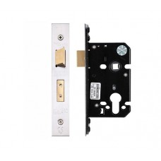 "Euro Sash Door Lock 67.5mm 2.5"" Forend & Strike 44.5mm Bkst SS"