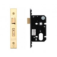 "Oval Sash Door Lock 67.5mm 2.5"" Forend & Strike 44.5mm Bkst PVD"