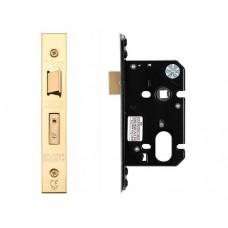 "Oval Sash Door Lock 67.5mm 2.5"" Forend & Strike 44.5mm Bkst PVD"