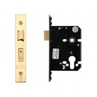 """Euro Sash Door Lock 79.5mm 3"""" Forend & Strike 57mm Bkst PVD"""