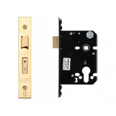 "Euro Sash Door Lock 79.5mm 3"" Forend & Strike 57mm Bkst PVD"
