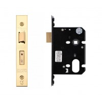 "Oval Sash Door Lock 79.5mm 3"" Forend & Strike 57mm Bkst PVD"