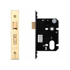 "Oval Sash Door Lock 79.5mm 3"" Forend & Strike 57mm Bkst PVD"